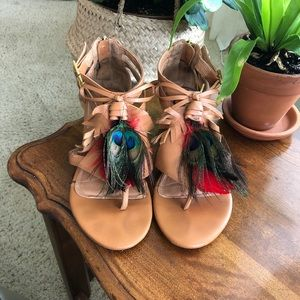 Leather Feather Sandals by Kelsi Dagger